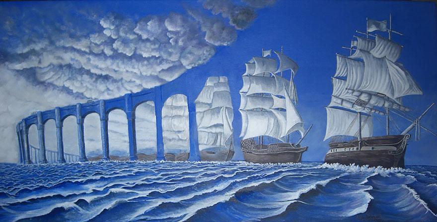 25 pinturas hechas con ilusiones ópticas te dejarán impresionado (Rob Gonsalves)