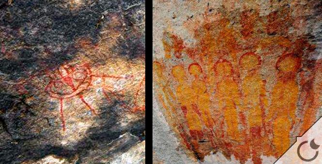 Hallan en la India pinturas rupestres de hace 10.000 años que retratan «ovnis» y «alienígenas»