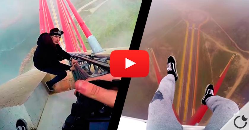 ¡ESCALADA EXTREMA SIN PROTECCIÓN! El puente más alto de España. (VIDEO)