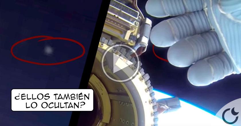 Astronauta de NASA OCULTA con su mano la aparición de un OVNI