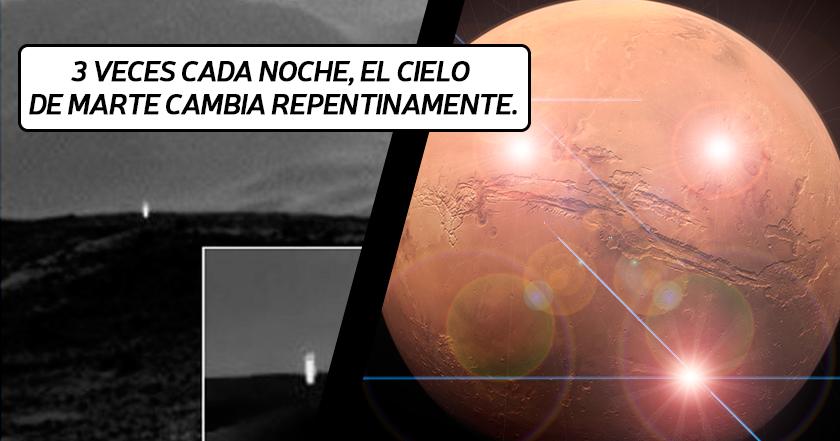 Qué son los 3 flashes de luz que emite cada noche Marte